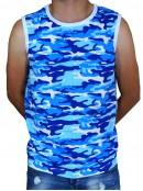 Тениска Без ръкав - синьо бял камуфлаж