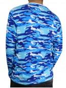 Тениска с Дълъг ръкав - Синьо бял камуфлаж